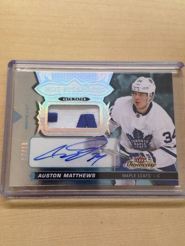 Auston Matthews Fleer Showcase Hot Prospect White Hot Autographed Patch